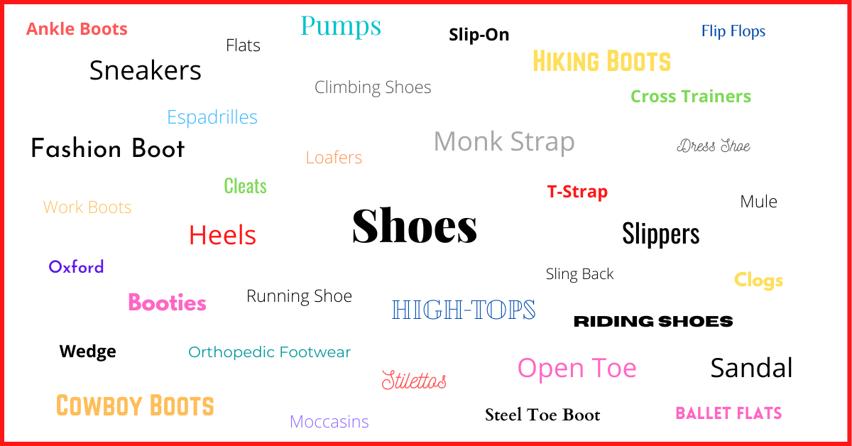 Types of shoes infographic - Shoe styles in stylized fonts and colors